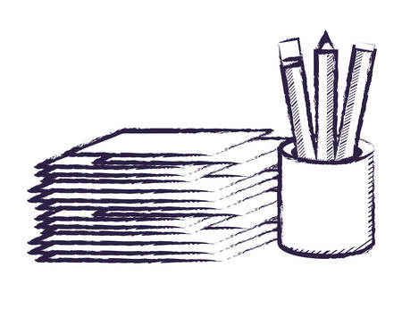 stack of papers and holder cup with pencils over white background, vector illustration
