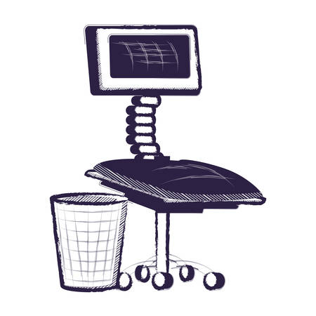 desk chair and trash bucket icon over white background, vector illustration Illustration