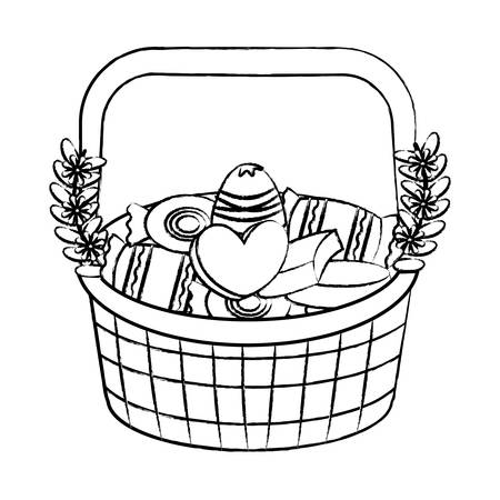 basket with chocolate candies and flowers over white background, vector illustration