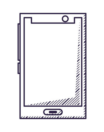 smartphone device over white background, vector illustration Ilustração