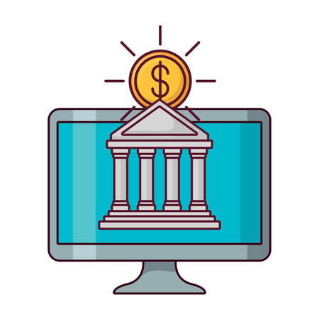 computer with bank building and money coin over white background, vector illustration