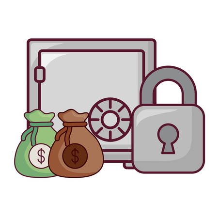 strongbox with padlock and money sacks over white background, vector illustration Illustration