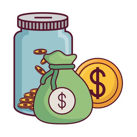 moneybox with money sack and coin over white background, vector illustration