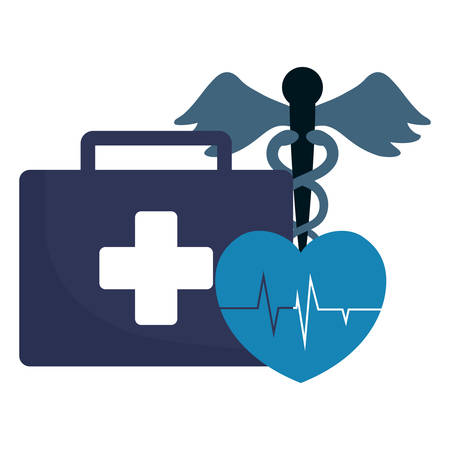 briefcase with cardio heart and medical symbol over white background, vector illustration Illustration