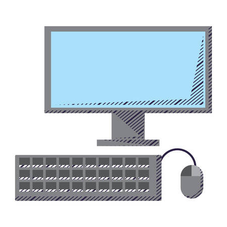 computer, keyboard and mouse over white background, vector illustration Ilustração