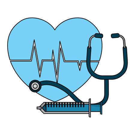cardio heart with syringe stethoscope over white background, vector illustration