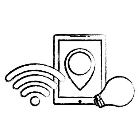 tablet with wifi symbol and bulb light icon over white background, vector illustration  イラスト・ベクター素材