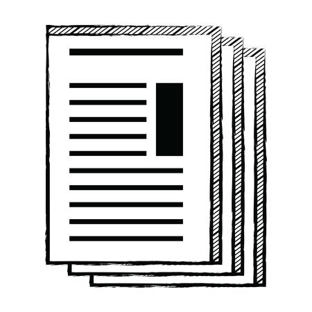 document sheets icon over white background, vector illustration