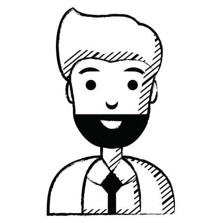 cartoon businessman icon over white background, vector illustration Illustration