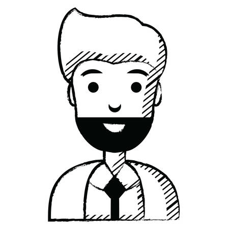 cartoon businessman icon over white background, vector illustration Illustration