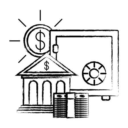 strongbox with bank building and money coin over white background, vector illustration Illustration