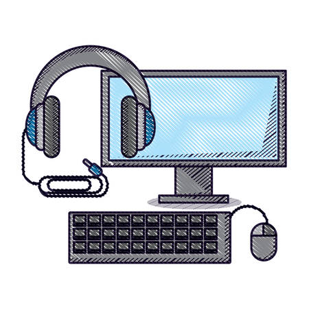 computer and headphones over white background, vector illustration Illustration