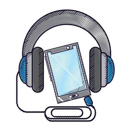 cellphone and headphones over white background, vector illustration