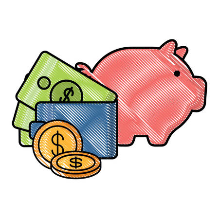 piggy bank and wallet with money over white background, vector illustration 矢量图像