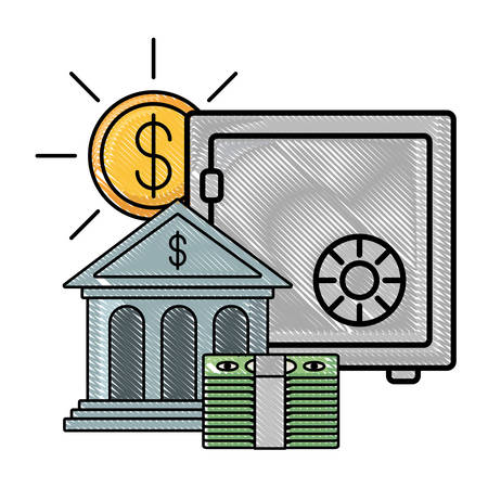 strongbox with bank building and money coin over white background, vector illustration Ilustração