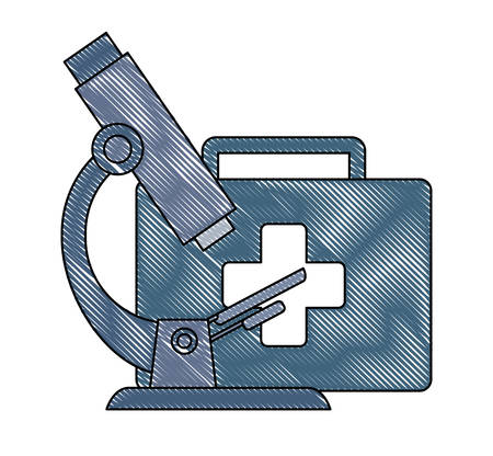 Microscope and first aid kit over white background, vector illustration