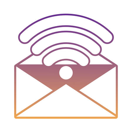 envelope and wifi symbol over white background, vector illustration Illustration
