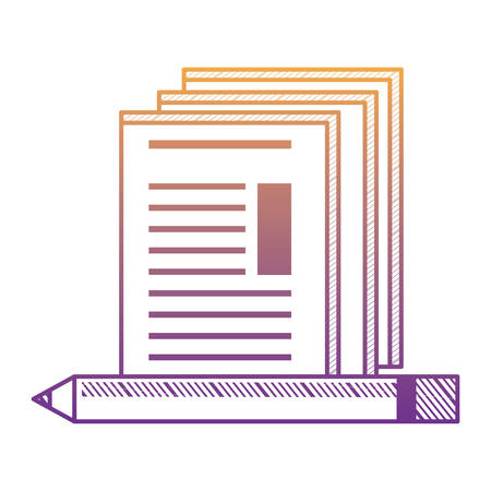 documents and pencil over white background, vector illustration