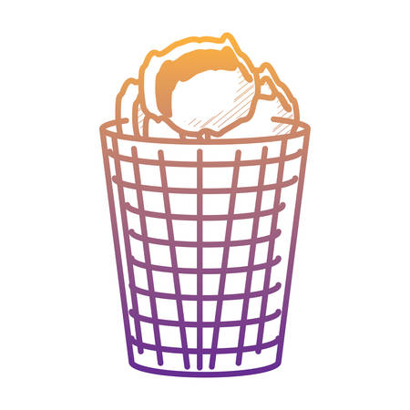 trash bucket and crumpled paper ball over white background, vector illustration Illustration