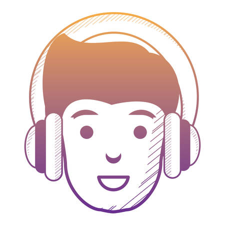 cartoon man with headphones over white background, vector illustration Çizim