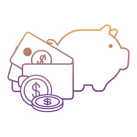 Hucha y billetera con dinero sobre fondo blanco, ilustración vectorial Ilustración de vector