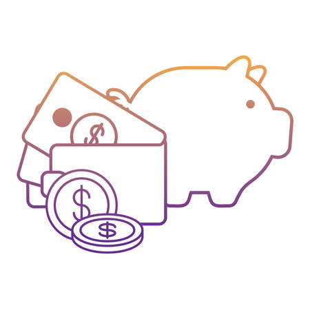 piggy bank and wallet with money over white background, vector illustration Vetores
