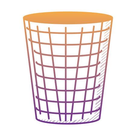 trash bucket icon over white background, vector illustration