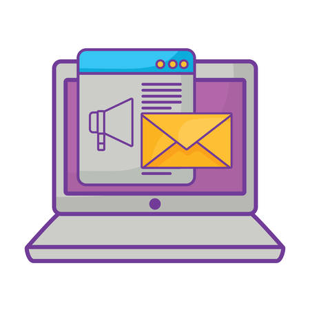 laptop computer with envelope and megaphone over white background, vector illustration