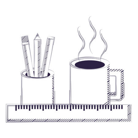 ruler with holder cup with pencils and coffee mug icon over white background, vector illustration