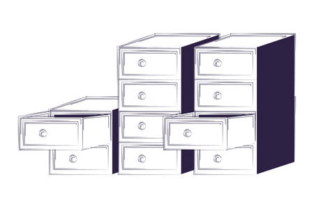 Archivadores sobre fondo blanco, ilustración vectorial