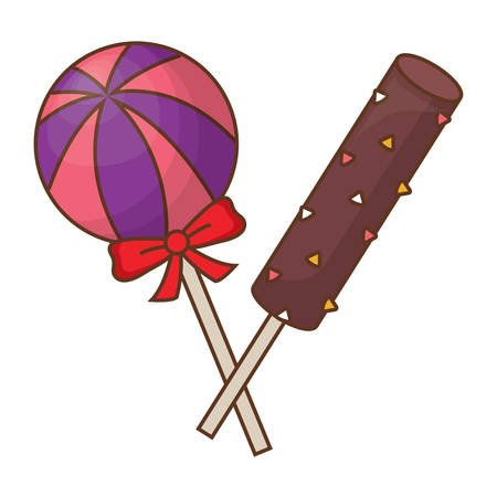 candies lollipops over white background, vector illustration