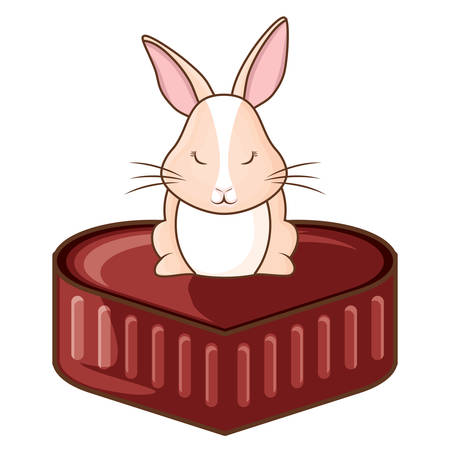 happy easter design with cute rabbit and chocolate egg over white background, vector illustration