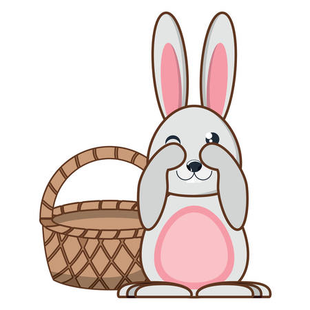 basket and cute rabbit over white background, vector illustration