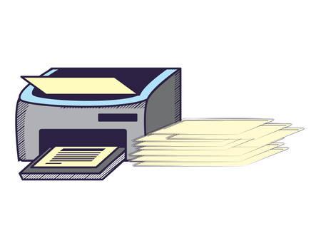 drukarka maszyna i stos dokumentów ikona na białym tle, ilustracji wektorowych