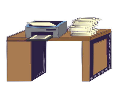 office desk with printer over white background, vector illustration