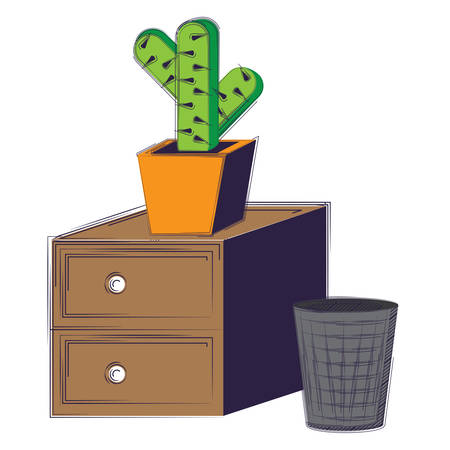 drawers with cactus pot and trash bucket over white background, vector illustration
