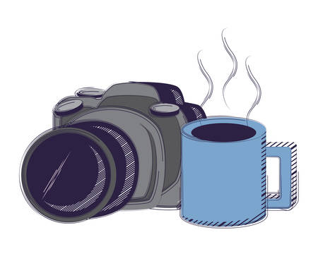 photographic camera and coffee mug over white background, vector illustration