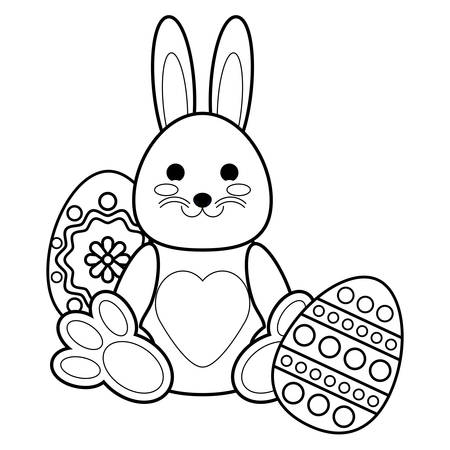 cute bunny and easter eggs over white background, vector illustration