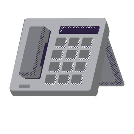 office phone icon over white background, vector illustration  イラスト・ベクター素材