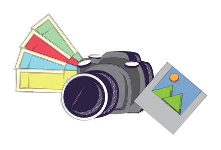 photographic camera with color picker and picture  over white background, vector illustration