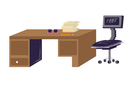 office chair and desk with sunglasses and stack of papers over white background, vector illustration