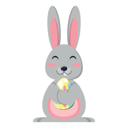 cute rabbit hugging a easter egg over white background, vector illustration Illustration