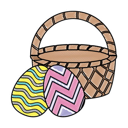 Basket with easter eggs over white background, vector illustration