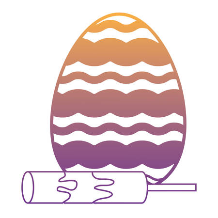 easter egg and candy stick over white background, vector illustration