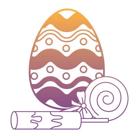 easter egg and lollipop over white background, vector illustration