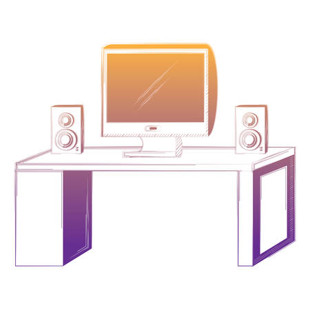 office desk with computer and sound speakers over white background, vector illustration Illustration