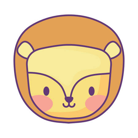 cute lion icon over white background, vector illustration 向量圖像