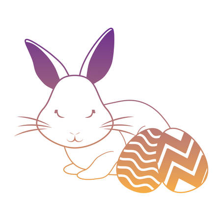 happy easter design with cute rabbit and easter eggs over white background, vector illustration