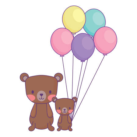 balloons and cute bears over white background, vector illustration