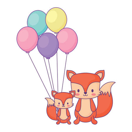 balloons and cute foxes over white background, vector illustration